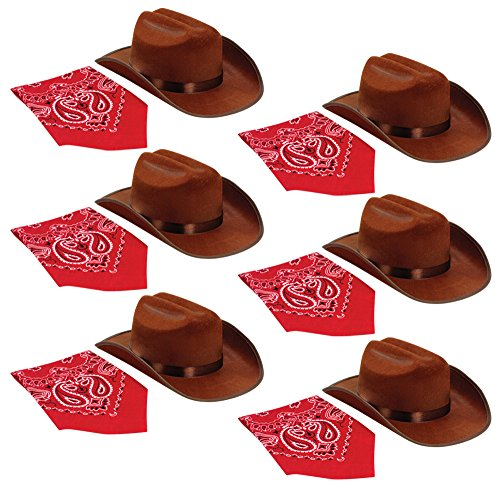 Aeromax Junior Cowboy Hat with Bandanna 6 piece party pack, Brown.