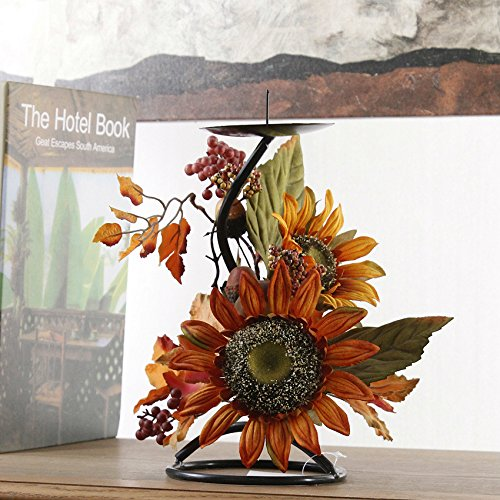 FLCSIed Fall Decoration Sunflowers Berries Maple Candle Holder for Thanksgiving(2 pcs/Pack) (Candle Holder Sunflower)