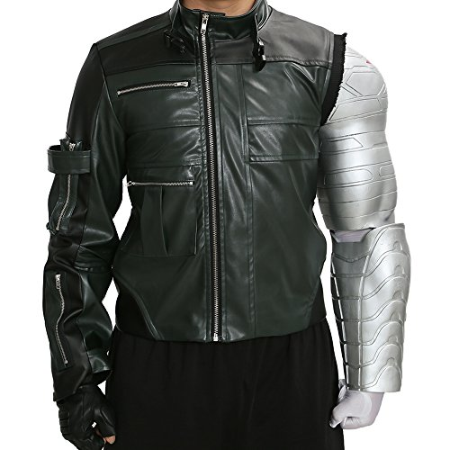 XCOSER Bucky Costume Jacket & Arm Props for Mens Halloween Cosplay Large -