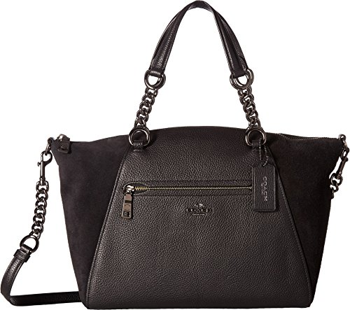 COACH Women's Mixed Leather Chain Prairie Satchel Dk/Black Handbag by Coach