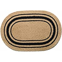 IHF Home Decor Oval Braided Area Rug 27 x 48 Inch Bristol Design Jute Fabric