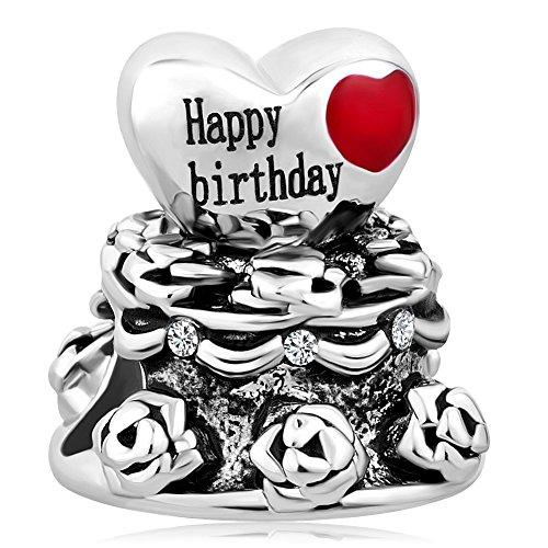 - ShinyJewelry Happy Birthday Cake Charm Bead for Bracelet