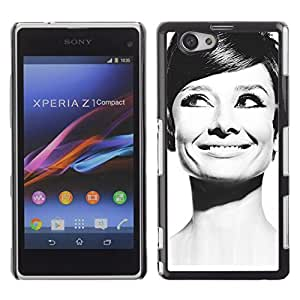 Slim Design Hard PC/Aluminum Shell Case Cover for Sony Xperia Z1 Compact D5503 Audrey Actress Black White Classic Portrait / JUSTGO PHONE PROTECTOR