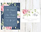 Navy and Blush Wedding Invitation, Floral Wedding Invitation, Navy and Pink Wedding Invitation