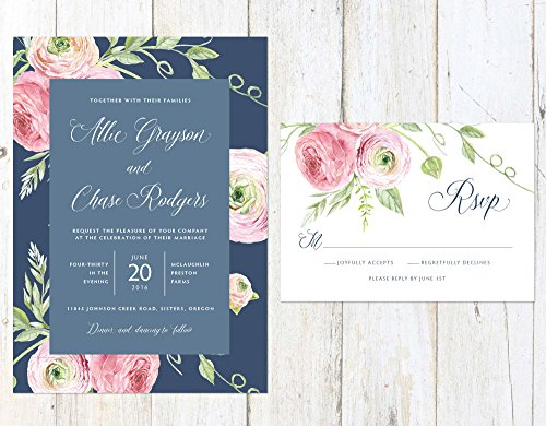 Navy and Blush Wedding Invitation, Floral Wedding Invitation, Navy and Pink Wedding Invitation by Alexa Nelson Prints