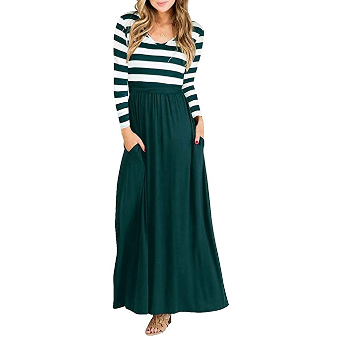Vestido de Mujer, Lananas Mujer 2018 Otoño A Rayas Elástico Manga Larga Color Puntadas Casual Maxi Vestir con Bolsillos Cinturón Dress: Amazon.es: Ropa y ...