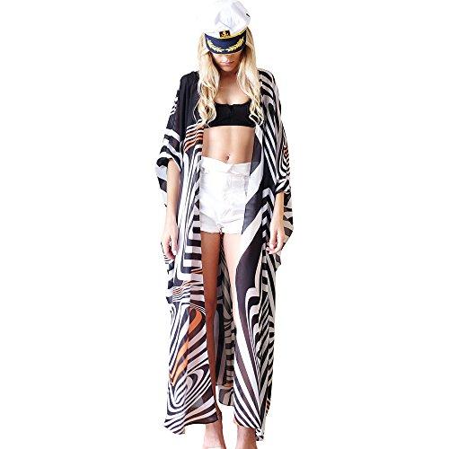 Women's Summer Blouse Loose Kimono Floral Print Cardigan Chiffon Beachwear Dress (CF-11)