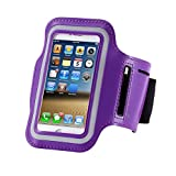 Cell Phone Armband: 5.7 Inch Case for iPhone X 8/7plus/7 Plus, 6/6S Plus, S8, All Galaxy Note Phones.etc. CaseHQ Adjustable Reflective Workout Band, Key Holder & Screen Protector (Purple)