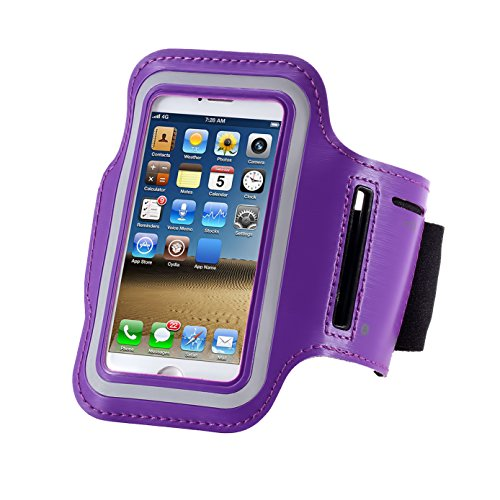 Cell Phone Armband: 5.7 Inch Case for iPhone 8/7plus/7 Plus, 6/6S Plus, S8, All Galaxy Note Phones.etc. CaseHQ Adjustable Reflective Velcro Workout Band, Key Holder & Screen Protector (purple)