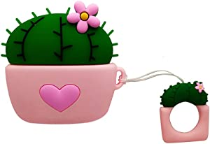 Red Heart AirPods Pro Case Cactus,AKXOMY Cute Love Cactus Airpods Pro Case,3D Kawaii Protective Silicone Cover Case for Apple Airpods Pro Case for Girls Kids Boys (Cactus-Pink)
