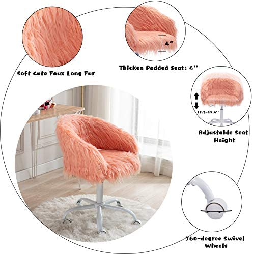CIMOTA Cute Fluffy Desk Chair Rolling Vanity Chair