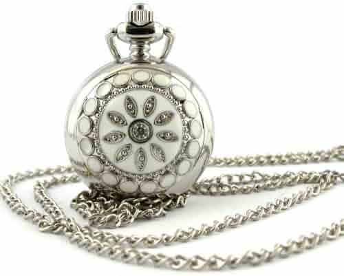 Youyoupifa Fashion Silver Flower Pattern Pattern Design Small Pocket Watch
