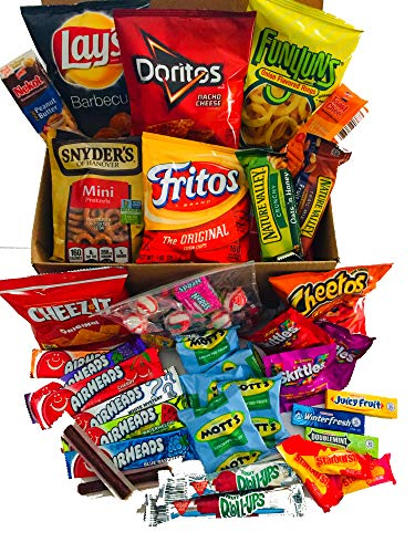 Care Packages For College Students Women Or Men Snack Boxes With Bonus 30 Piece Bulk Assorted Candy (66 Total Pieces) For Dorm Student Exam Finals -