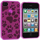 Apple iPhone 4 * Flexi Rubber Case * Dog Prints * (Pink) 16GB, 32GB * 4th Gen * iPhone 4G