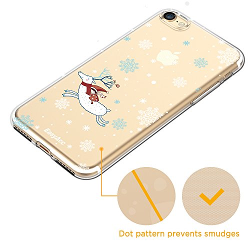 EasyAcc Funda iPhone 7 iPhone 8 Ultra Delgado Cristal Transparente Carcasa Cubierta Cover Suave Premium TPU Protector y Flexible Case Der Weihnachtselch