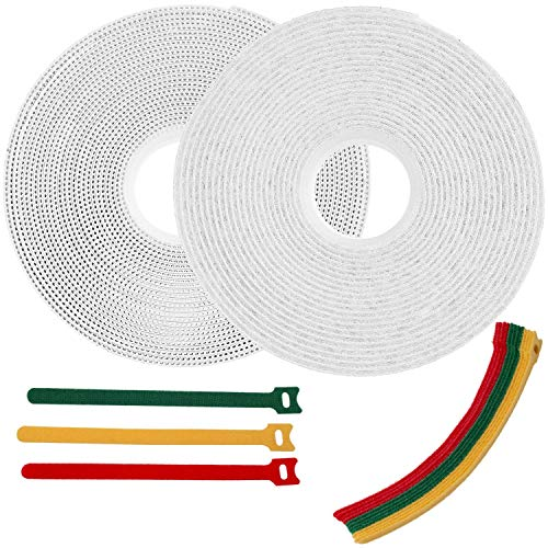 Hook and Loop Tape with Adhesive 1 Inch x 15 Feet Industrial Strength Heavy Duty Strips White + 15 Reusable Cable Ties