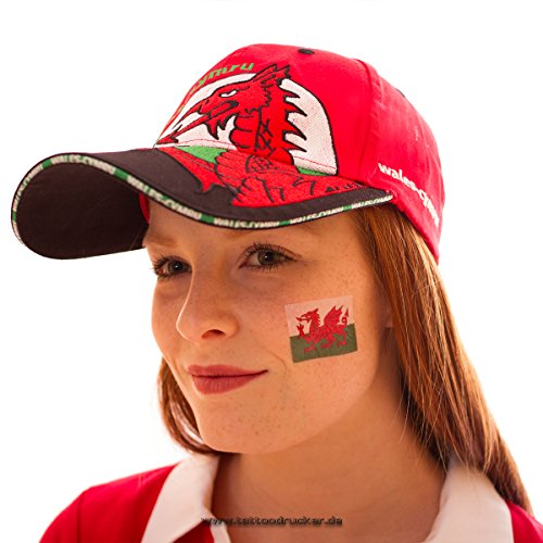 10 x Wales Fan Tattoo Fahne - EM 2016 Fanartikel - The Red Dragon - Y Ddraig Goch (10)