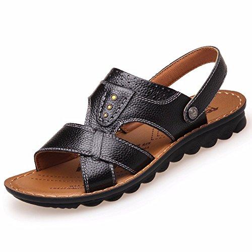 Uomini sandali Uomini vera pelle Il nuovo Spiaggia scarpa gioventù estate tendenza alunno sandali Tempo libero scarpa ,neroB,US=7.5,UK=7,EU=40 2/3,CN=41