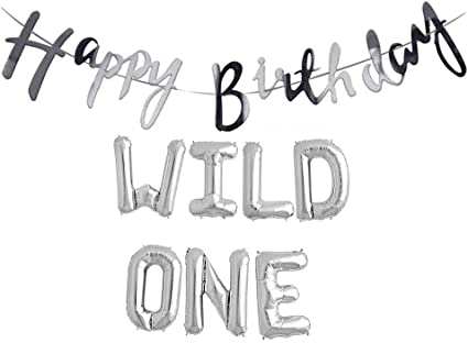SILVER 16 INCH Wild One Kids First Birthday SILVER Balloons Baby Girl Boy 1st Bday Party Supplies