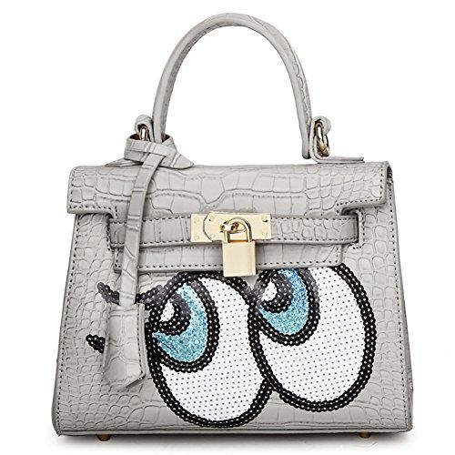Buckle Leather QZUnique Paillette Top Handle Eyes Fashion Padlock Belt Bag Metalic Zipper Women's Grey PU Big ggxwr8Eq