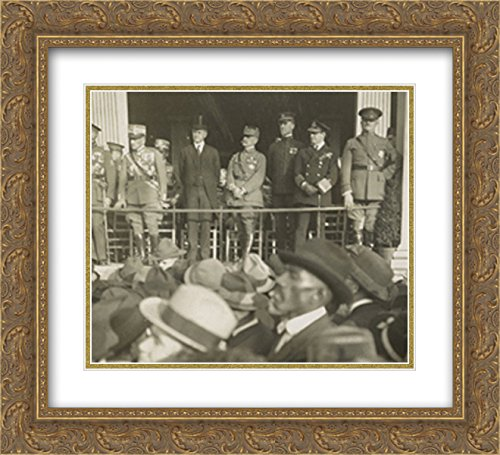 Americas Most Notable Gathering Of Military Heroes  Left To Right  Jacques  Belgium   Diaz  Italy   Coolidge  Foch  France   Pershing 20X20 Double Matted Gold Ornate Framed Art Print