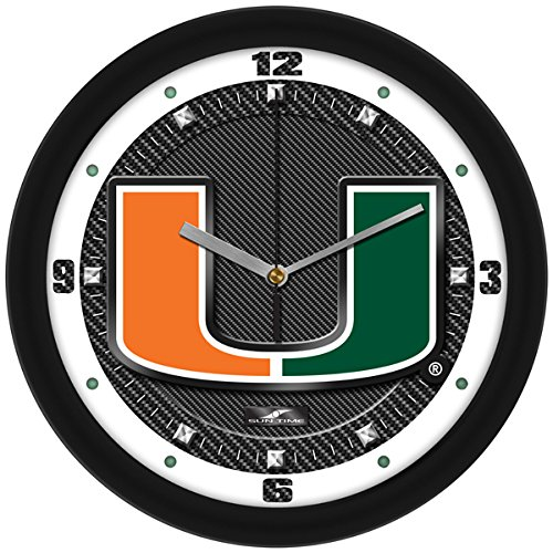 NCAA Miami Hurricanes Textured Carbon Fiber Wall Clock - Crystal Football Clock