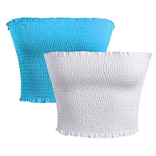 GATHY Women's Strapless Pleated Sexy Tube Crop Tops (Small/Medium, Two Colors -Sky Blue -White) ()