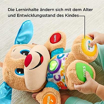 Fisher-Price FPM50 - Lernspaß Hündchen Baby Spielzeug und Plüschtier, Lernspielzeug mit Liedern und Sätzen, mitwachsende Spielstufen, Spielzeug ab 6 Monaten, deutschsprachig 6