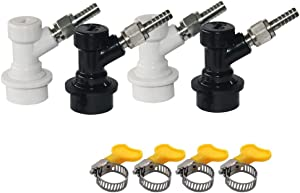 Homebrewing Ball Lock Quick Disconnect Include Ball Lock Gas Disconnect with 5/16 Swivel Nut and Ball Lock Liquid Disconnect with 3/16 Swivel Nuts, Worm Clamp for Beer Keg System