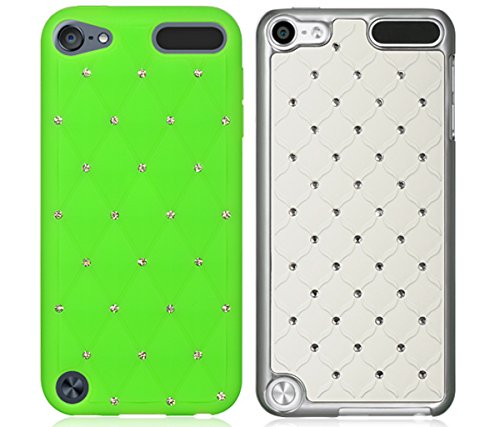 Mozlly Value Pack - Dream Wireless iPod Touch 5,6 Green High End Studded Diamond Skin Case and White Diamond Studded Chrome iPod Touch 5 Case (2 Items) - Item #K127015-127018 (5 Chrome Case For Ipod Diamond)
