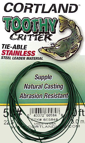 Musky Pike Leaders (Cortland 605817 Toothy Critter Tie-able, Stainless Steel Leader)
