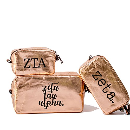 A-List Greek Cosmetic Bag Zeta Tau Alpha Sorority Travel Set of 3 - Black Greeks Letter Design | Ideal to store Makeup, Jewelry & Other Accessories - Perfect Gift for - Of For List Camping Things