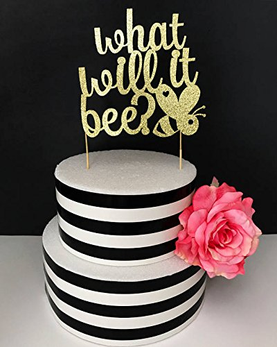 What will it bee cake topper- baby shower cake topper- gender reveal cake topper-mommy to bee cake topper- bumble bee cake topper