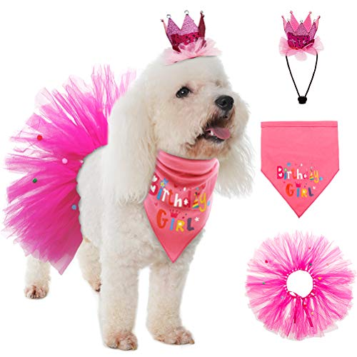 SCENEREAL Dog Birthday Bandana Girl – Birthday Party Supplies -Tutu Skirt Hat Scarf Set for Pet Puppy Cat Girl,Pink…