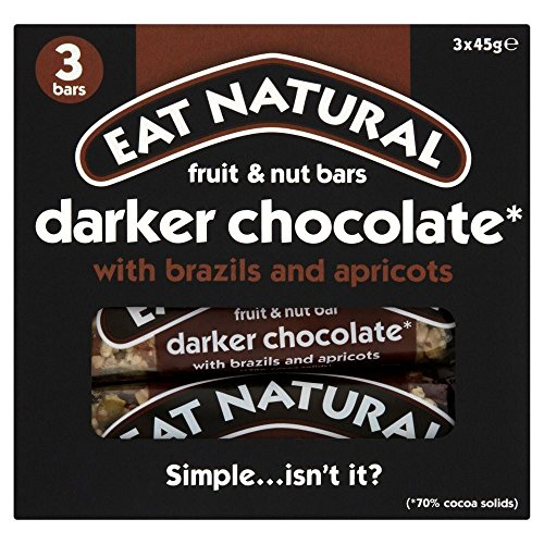 Eat Natural 70% Dark Chocolate Brazil & Apricot (3x45g) - Pack of 2 by Eat Natural