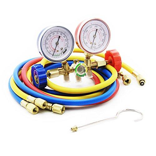 Raomdityat Diagnostic Manifold Gauge Set Charging Hose R12 R22 R502 AC Refrigerant 5FT (Hose Gauge Protector)
