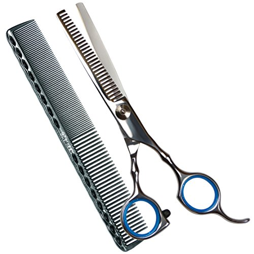Professional Razor Edge Barber Thinning/Blending/Layering/Texturizing Scissor/ Shear 6,Stainless Steel Barber Handmade Hair-cutting with Comb and Adj…