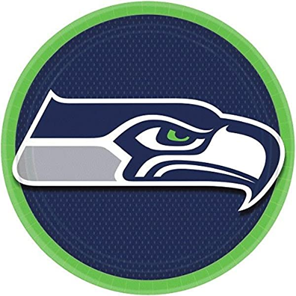 Seattle Seahawks Collection 9 Round Party Plates Kitchen Dining Amazon Com