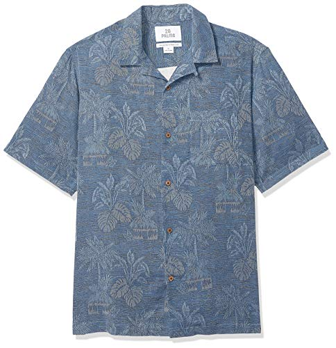28 Palms Men's Relaxed-Fit 100% Textured Silk Tropical Leaves Jacquard Shirt, Navy, Medium