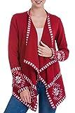 NOVICA Red 100% Alpaca Cardigan, Crimson Twilight Stars'