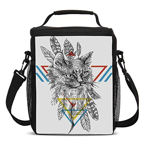 Feather Beautiful Children's Printed Lunch Bag,Ink Sketch Drawing Style Cat Portrait with Geometric Elements Triangles Boho Animal Decorative For picnic,One size]()