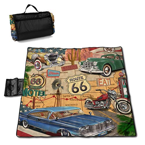 LHLX HOME Picnic Blanket Vintage Car Route 66 Handy Beach Mats with Waterproof Backing Anti Sand for Camping, Picnics, Beaches and Outings 57 X 59
