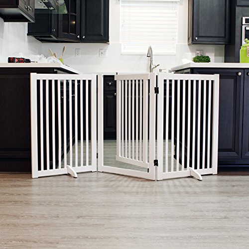 WELLAND Freestanding Wood Pet Gate with Walk Through Door White, 66-Inch Width, 32-Inch Height (Set of Support Feet Included) ()