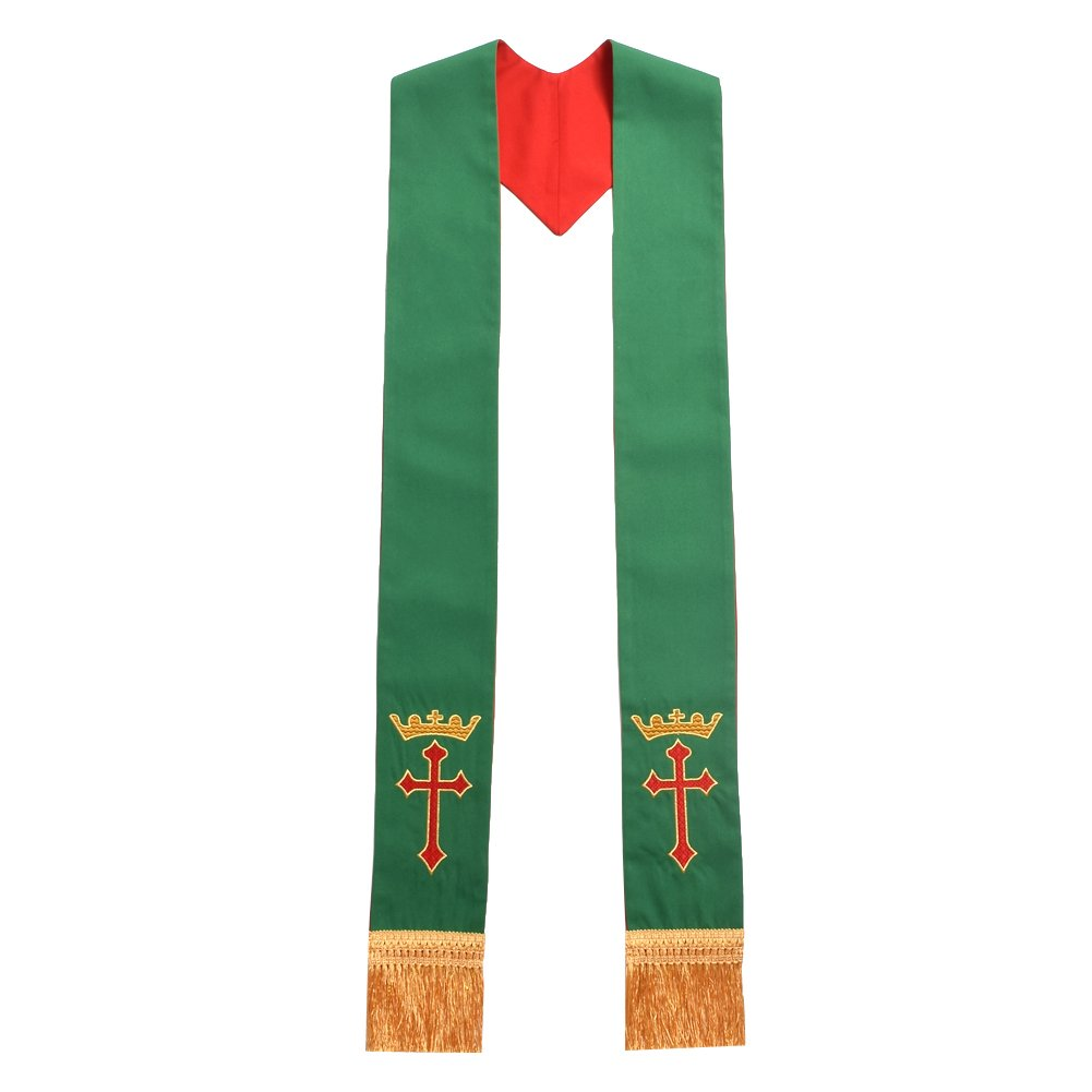 BLESSUME Church Priest Reversible Stole IHS Crown Pastor Mass Stole (Red and Green)