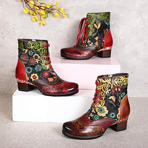 Winter Autumn Walking Handmade Side Low Ladies Boots Round Block Outdoor Printing Retro Lace New Zipper Bohemian Shoes Pattern Heel gracosy Leather Shoes Toe Red Up Ankle Boots Women Flat Plant wRxcqPUHp