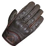 Men's Premium Leather Street Motorcycle Cruiser Biker Gel Brown Short Gloves XXL