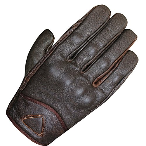 Men's Premium Leather Street Motorcycle Cruiser Biker Gel Brown Short Gloves L