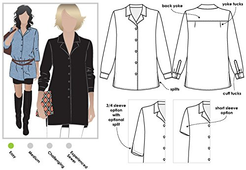 Sewing Patterns Blouses (Style Arc Sewing Pattern - Jane Over Shirt (Sizes 04-16) - Click for Other Sizes Available)