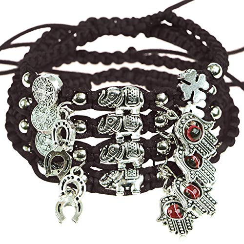 RufnTop 4 pcs Lucky Evil Eye Protection for Kabbalah Medal on Red Cord Braided String Ancient Silver Tone Inspirational Breathe Bracelet Evil Eye, 8 Inch Blessing, Hand-Made(Black Evil Eye)