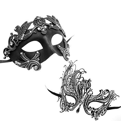 Mask Masquerade Couples (Roman Greek Emperor Masquerade Venetian Mask Black Silver Series Couple Mask Sets)